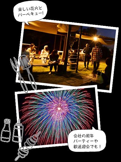 My花火大会で夜楽しそうにバーベキューをする様子と、花火が上がる様子